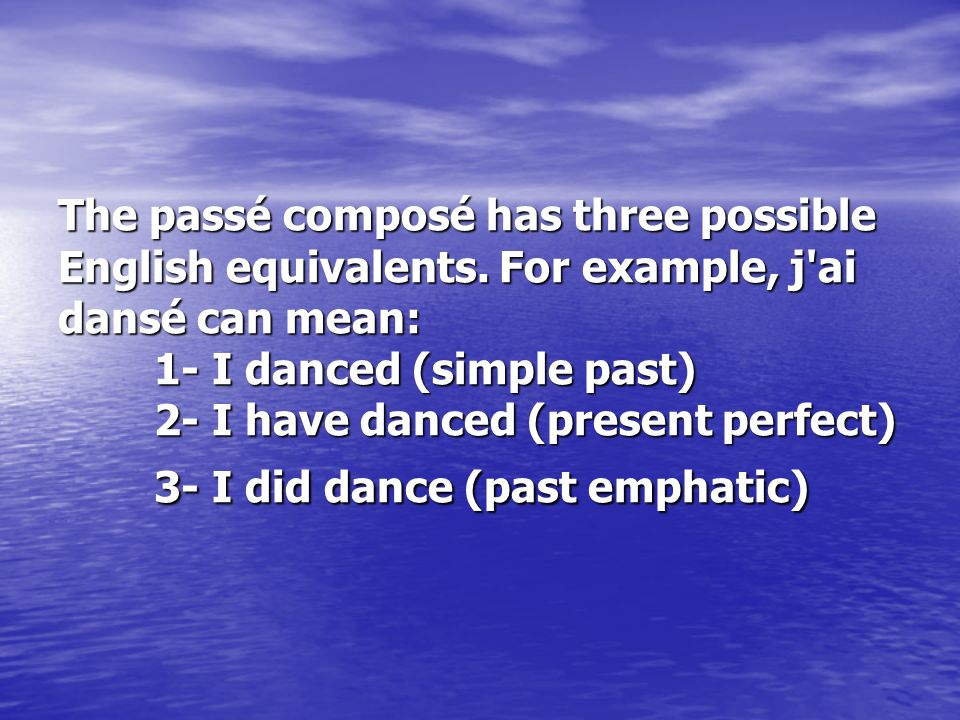 The passé composé is a compound conjugation, which means it has two parts: 1- Present tense of the auxiliary verb (either avoir or être) 2- Past participle of the main verb