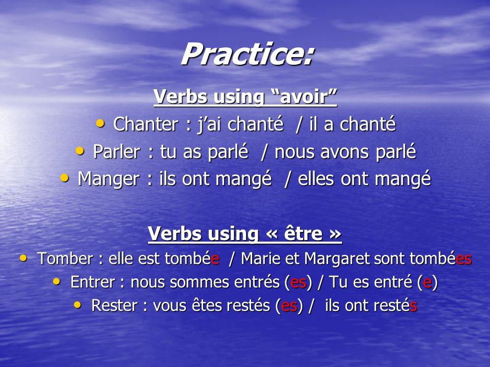 Practice: Verbs using avoir Chanter : jai chanté / il a chanté Chanter : jai chanté / il a chanté Parler : tu as parlé / nous avons parlé Parler : tu