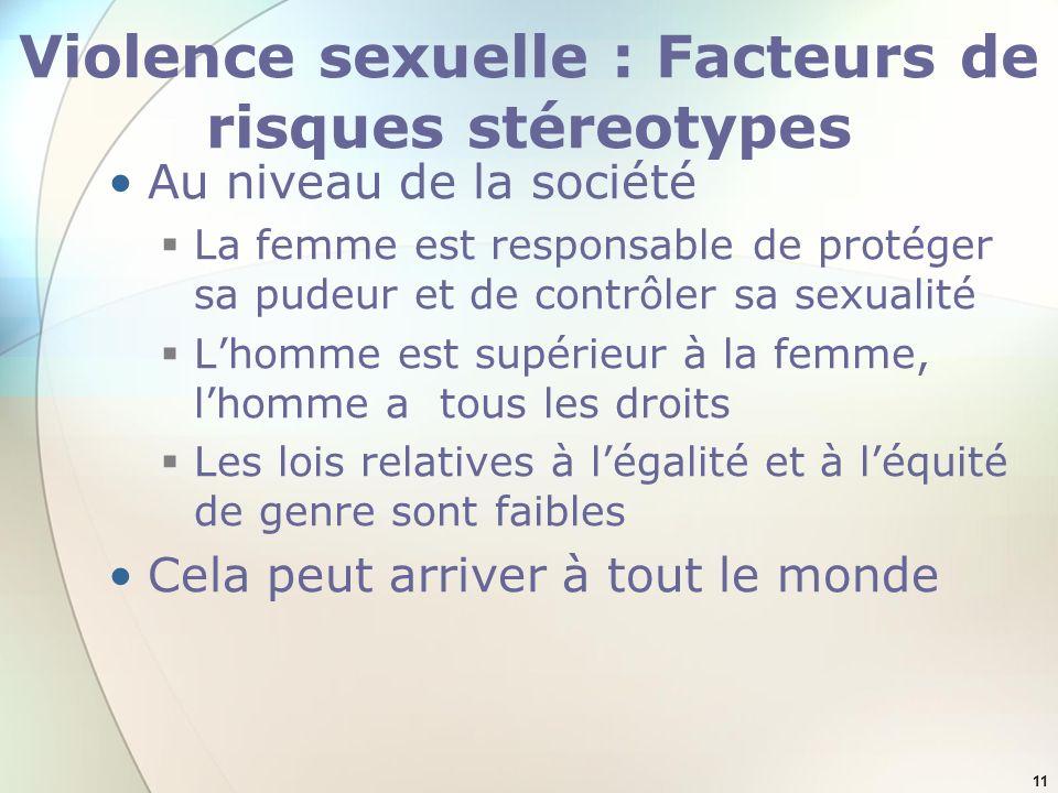 11 Violence sexuelle : Facteurs de risques stéreotypes Au niveau de la société La femme est responsable de protéger sa pudeur et de contrôler sa sexua