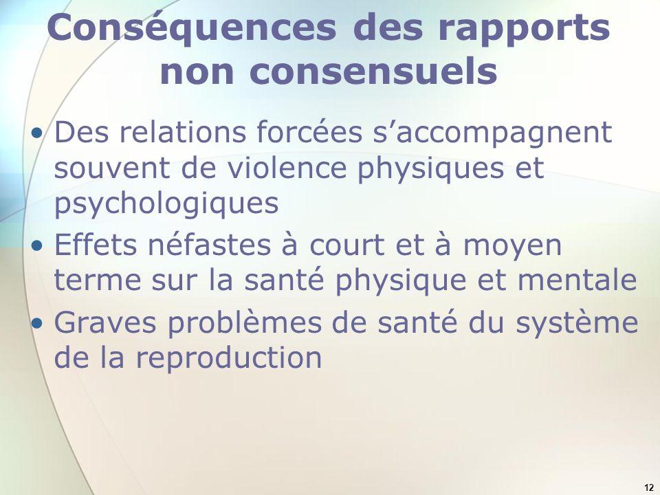 12 Conséquences des rapports non consensuels Des relations forcées saccompagnent souvent de violence physiques et psychologiques Effets néfastes à cou