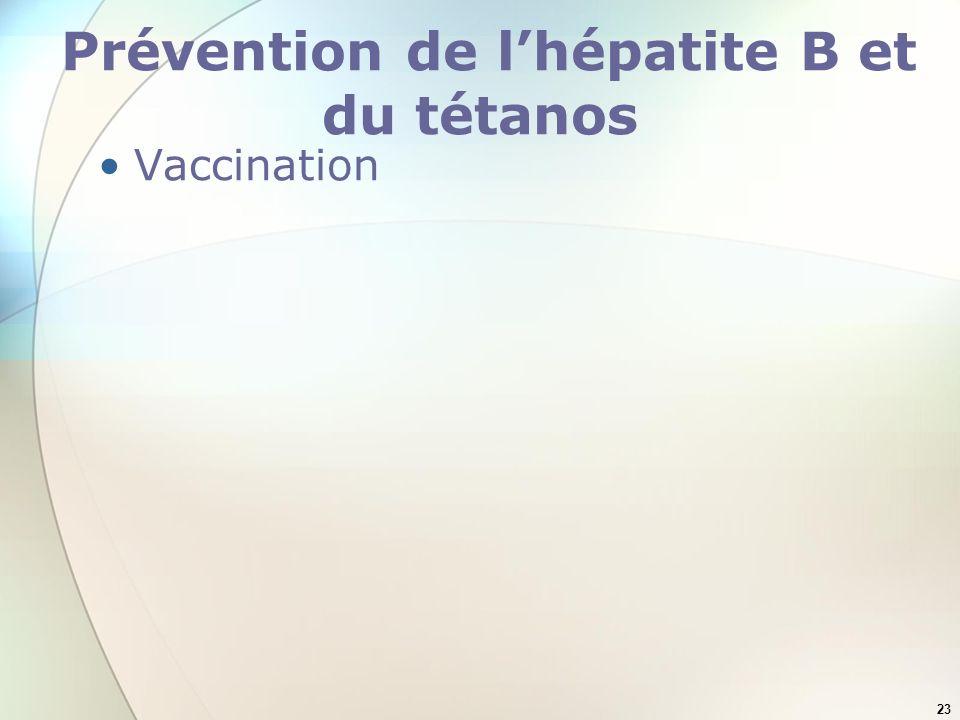 23 Prévention de lhépatite B et du tétanos Vaccination