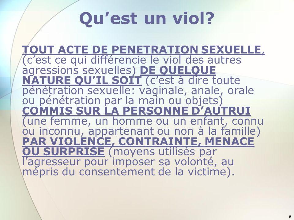6 Quest un viol? TOUT ACTE DE PENETRATION SEXUELLE, (cest ce qui différencie le viol des autres agressions sexuelles) DE QUELQUE NATURE QUIL SOIT (ces