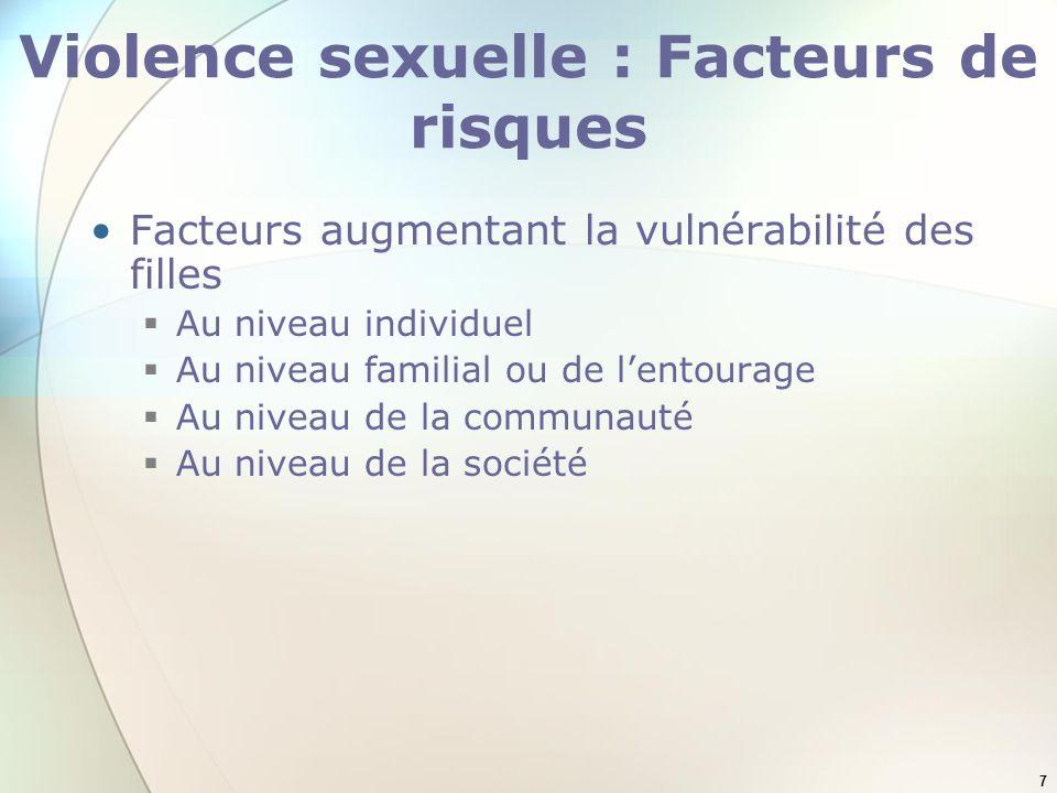 8 Violence sexuelle : Facteurs de risques Au niveau individuel Etre jeune Consommer lalcool ou drogues Avoir des problèmes psychologiques ou mentaux Avoir déjà été violée