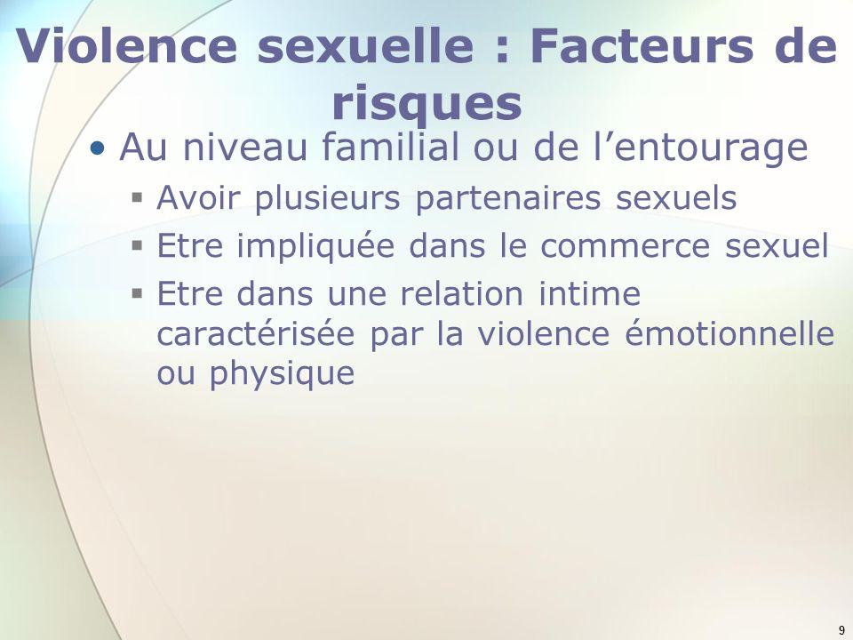 9 Violence sexuelle : Facteurs de risques Au niveau familial ou de lentourage Avoir plusieurs partenaires sexuels Etre impliquée dans le commerce sexu
