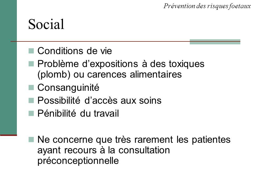 Social Conditions de vie Problème dexpositions à des toxiques (plomb) ou carences alimentaires Consanguinité Possibilité daccès aux soins Pénibilité d