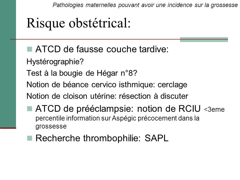 Risque obstétrical: ATCD de fausse couche tardive: Hystérographie? Test à la bougie de Hégar n°8? Notion de béance cervico isthmique: cerclage Notion