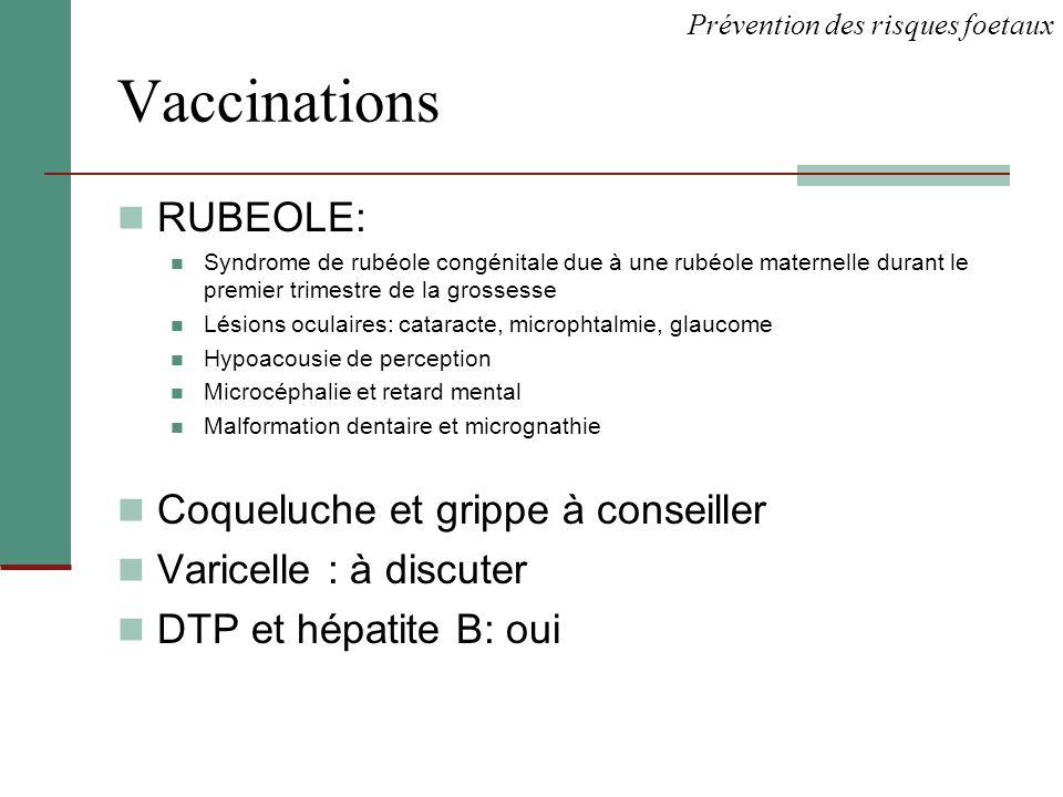 Vaccinations RUBEOLE: Syndrome de rubéole congénitale due à une rubéole maternelle durant le premier trimestre de la grossesse Lésions oculaires: cata