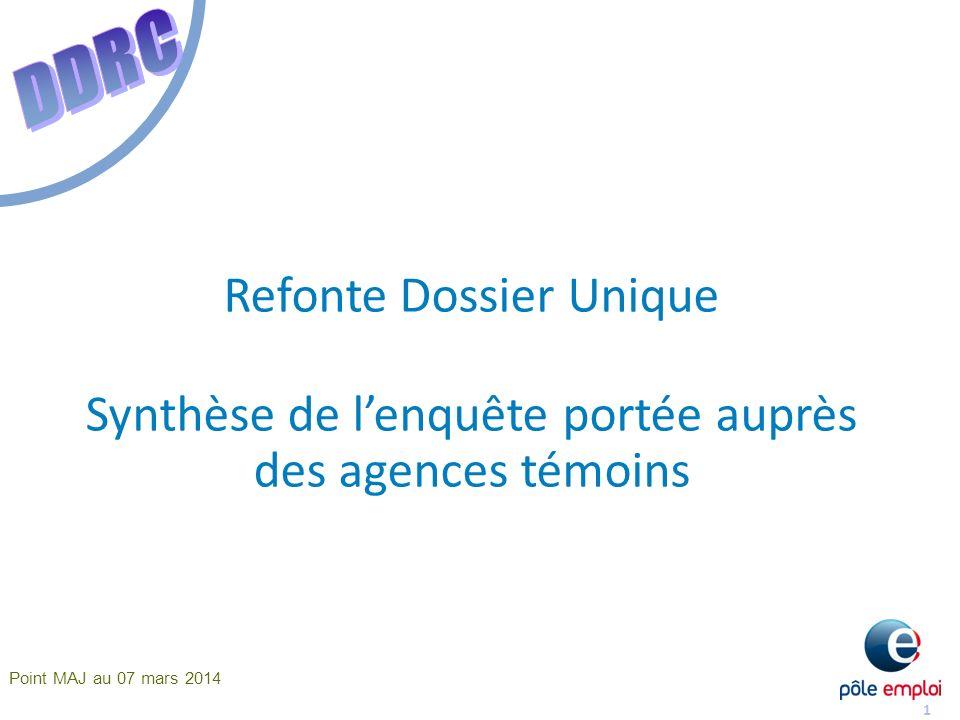 1 Refonte Dossier Unique Synthèse de lenquête portée auprès des agences témoins Point MAJ au 07 mars 2014