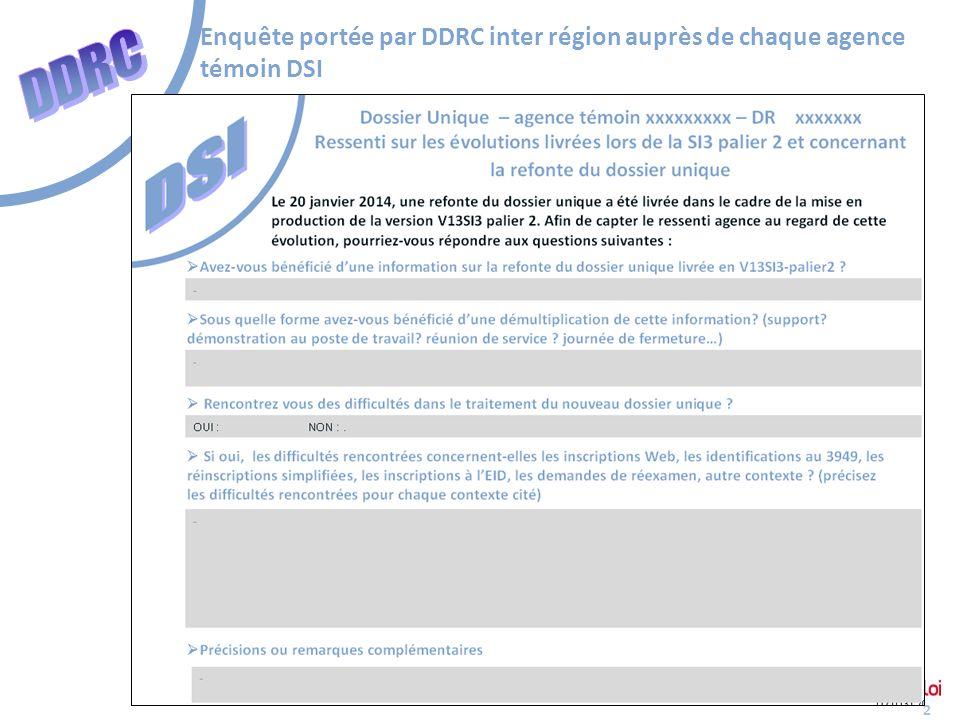 2 Enquête portée par DDRC inter région auprès de chaque agence témoin DSI