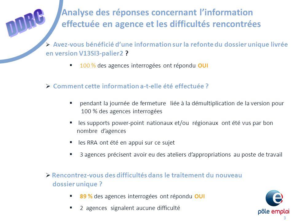3 Analyse des réponses concernant linformation effectuée en agence et les difficultés rencontrées Avez-vous bénéficié dune information sur la refonte du dossier unique livrée en version V13SI3-palier2 .