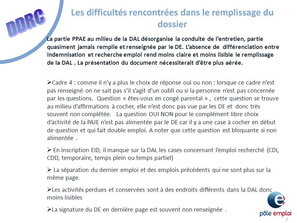 7 Les difficultés rencontrées dans le remplissage du dossier La partie PPAE au milieu de la DAL désorganise la conduite de lentretien, partie quasiment jamais remplie et renseignée par le DE.