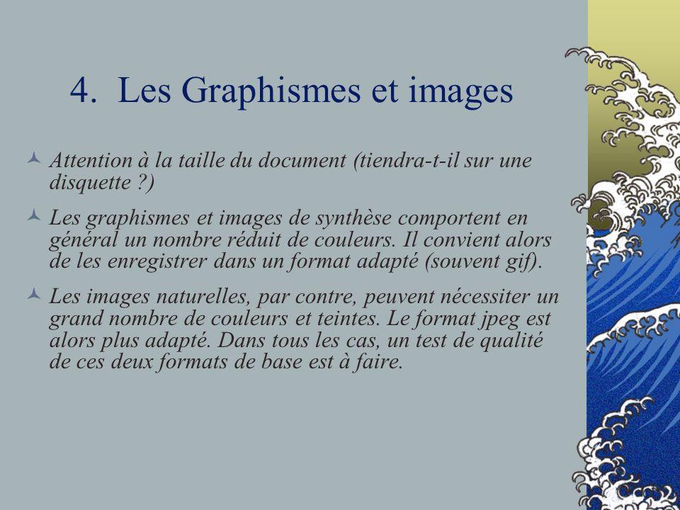 4. Les Graphismes et images Attention à la taille du document (tiendra-t-il sur une disquette ?) Les graphismes et images de synthèse comportent en gé