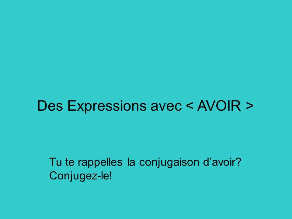 Des Expressions avec Tu te rappelles la conjugaison davoir? Conjugez-le!