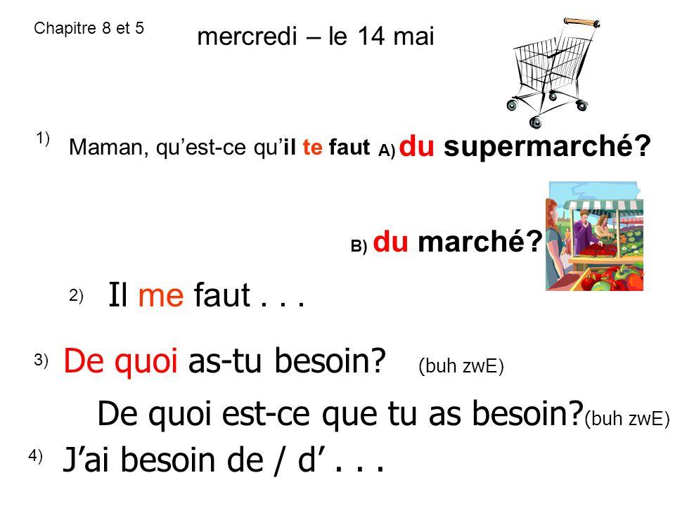 Chapitre 8 et 5 1) Maman, quest-ce quil te faut A) du supermarché? B) du marché? 2) I l me faut... 3) De quoi as-tu besoin? (buh zw E) De quoi est-ce
