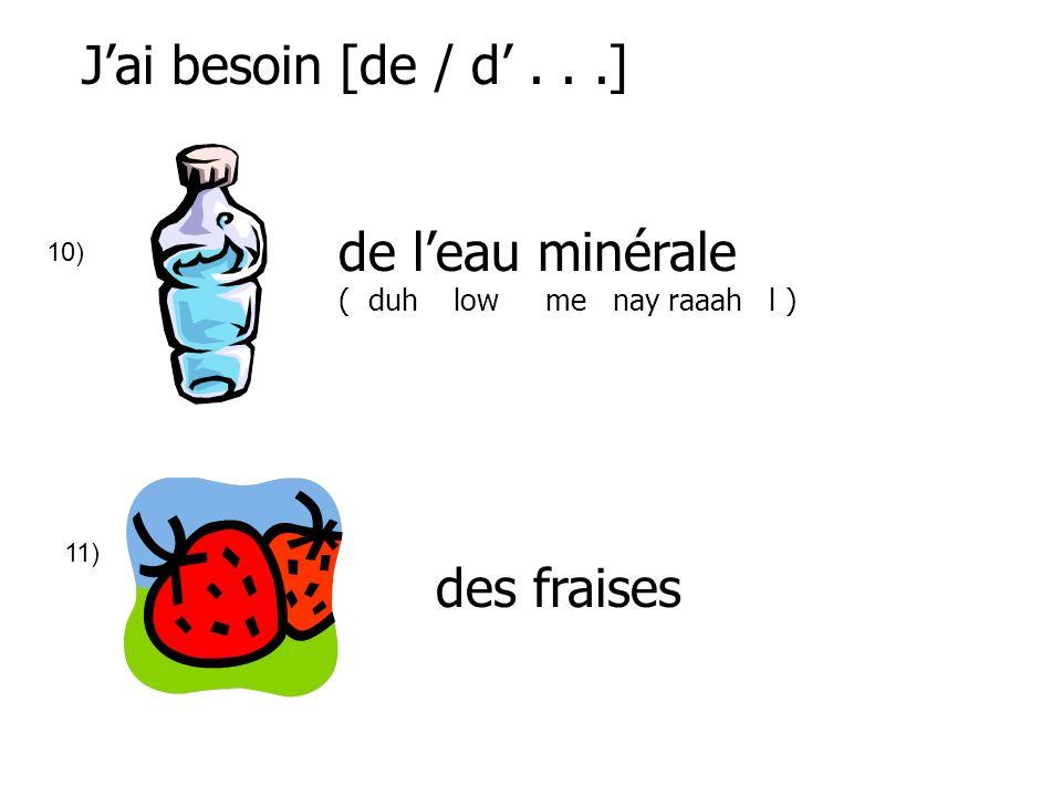 Jai besoin [de / d...] 10) de leau minérale ( duh low me nay raaah l ) 11) des fraises