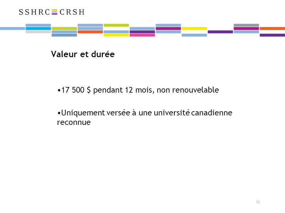10 Valeur et durée 17 500 $ pendant 12 mois, non renouvelable Uniquement versée à une université canadienne reconnue