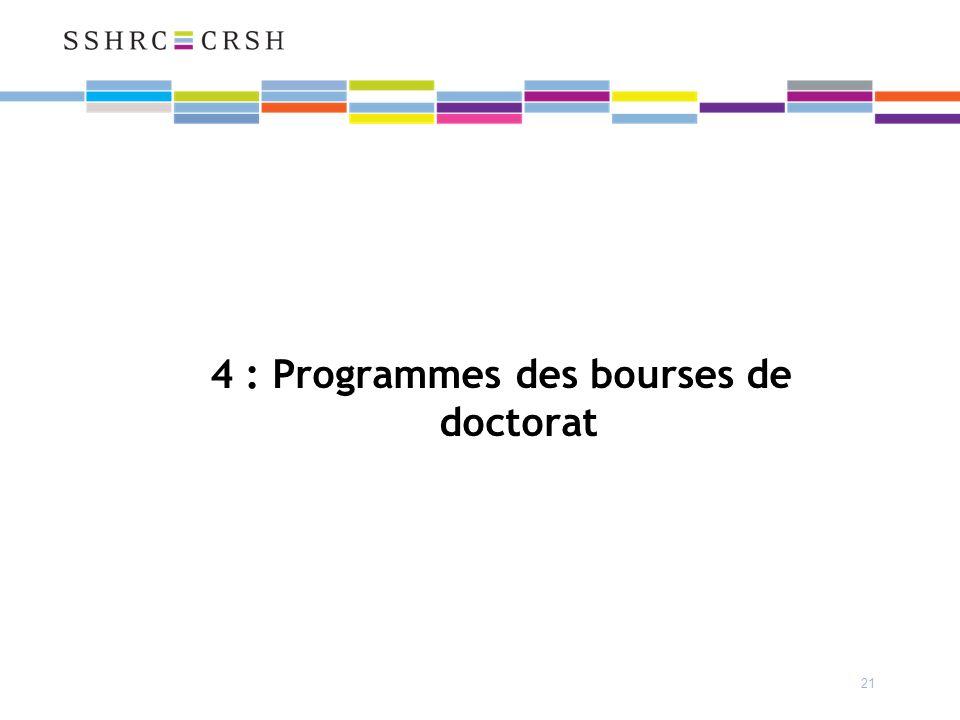21 4 : Programmes des bourses de doctorat