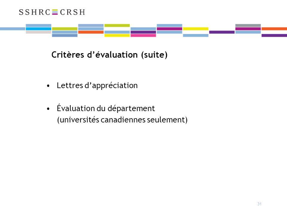 31 Critères dévaluation (suite) Lettres dappréciation Évaluation du département (universités canadiennes seulement)