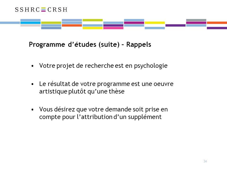 34 Programme détudes (suite) – Rappels Votre projet de recherche est en psychologie Le résultat de votre programme est une oeuvre artistique plutôt quune thèse Vous désirez que votre demande soit prise en compte pour lattribution dun supplément