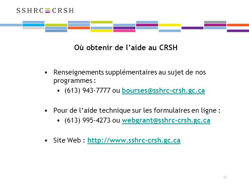 52 Où obtenir de laide au CRSH Renseignements supplémentaires au sujet de nos programmes : (613) 943-7777 ou bourses@sshrc-crsh.gc.ca@sshrc-crsh.gc.ca Pour de laide technique sur les formulaires en ligne : (613) 995-4273 ou webgrant@sshrc-crsh.gc.cawebgrant@sshrc-crsh.gc.ca Site Web : http://www.sshrc-crsh.gc.ca