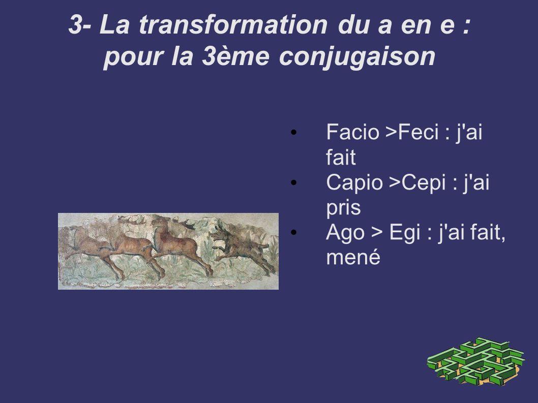 3- La transformation du a en e : pour la 3ème conjugaison Facio >Feci : j'ai fait Capio >Cepi : j'ai pris Ago > Egi : j'ai fait, mené