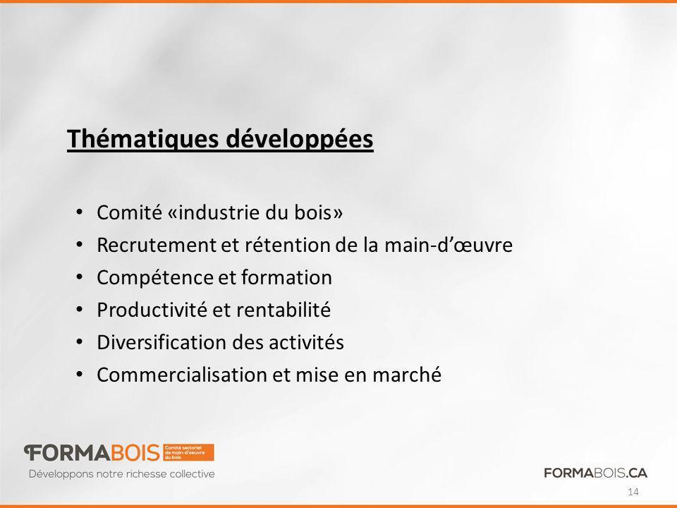 Thématiques développées Comité «industrie du bois» Recrutement et rétention de la main-dœuvre Compétence et formation Productivité et rentabilité Diversification des activités Commercialisation et mise en marché 14