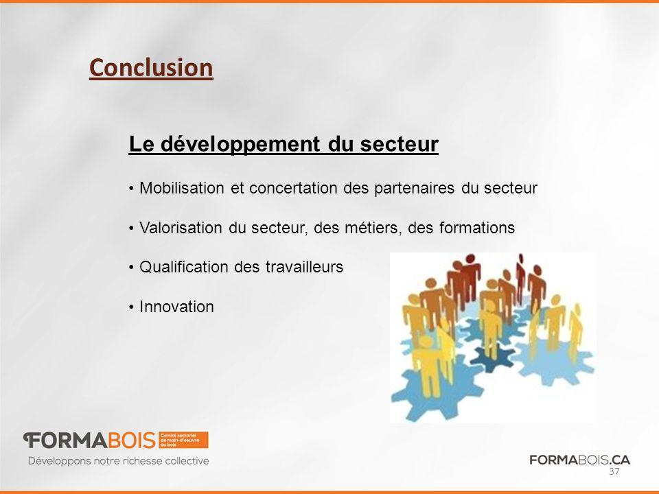 Conclusion 37 Le développement du secteur Mobilisation et concertation des partenaires du secteur Valorisation du secteur, des métiers, des formations Qualification des travailleurs Innovation