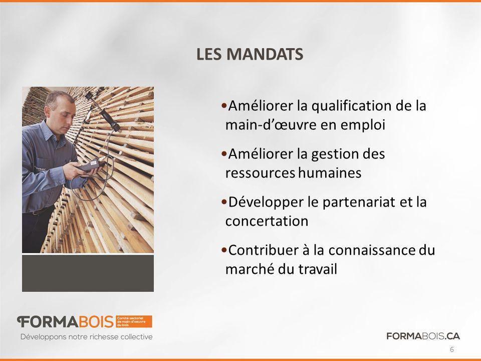 LES MANDATS Améliorer la qualification de la main-dœuvre en emploi Améliorer la gestion des ressources humaines Développer le partenariat et la concertation Contribuer à la connaissance du marché du travail 6