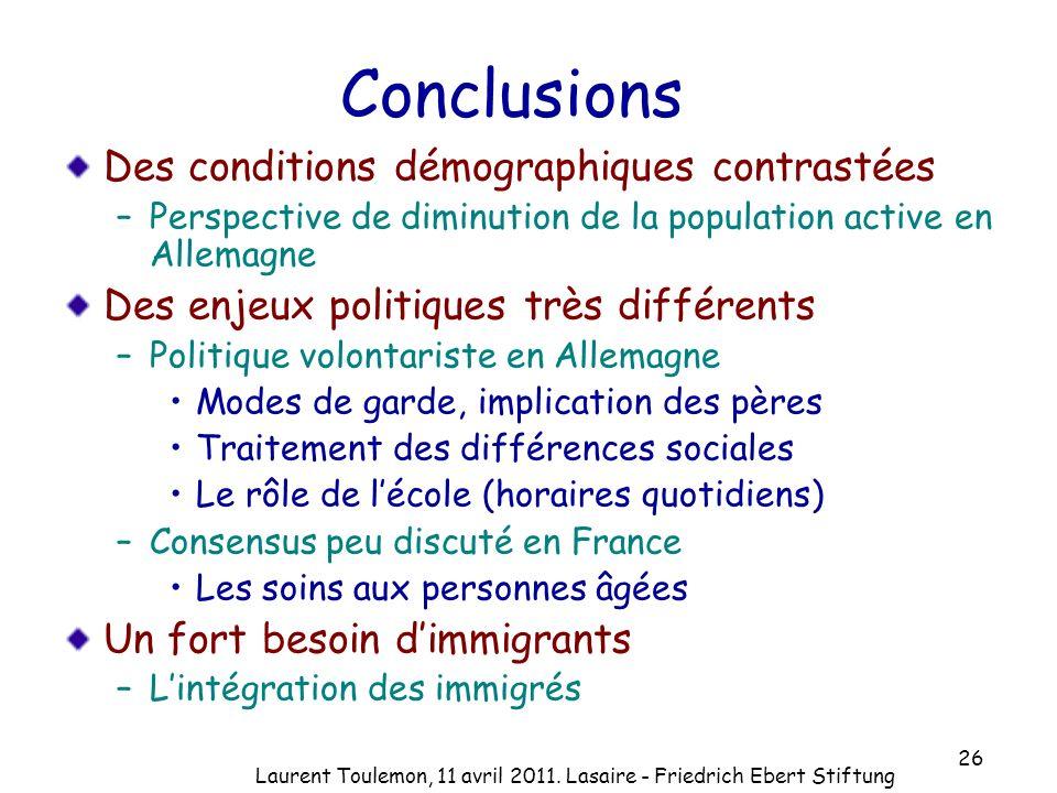 26 Conclusions Des conditions démographiques contrastées –Perspective de diminution de la population active en Allemagne Des enjeux politiques très di