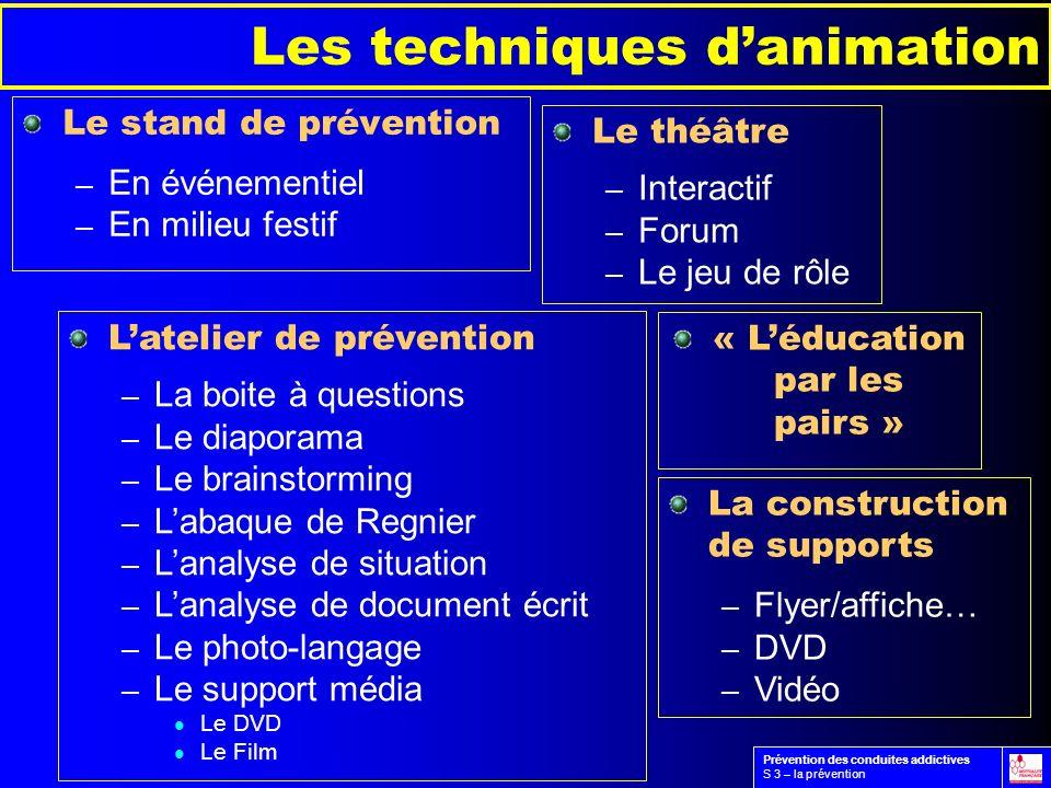 Les techniques danimation Le stand de prévention – En événementiel – En milieu festif Latelier de prévention – La boite à questions – Le diaporama – L