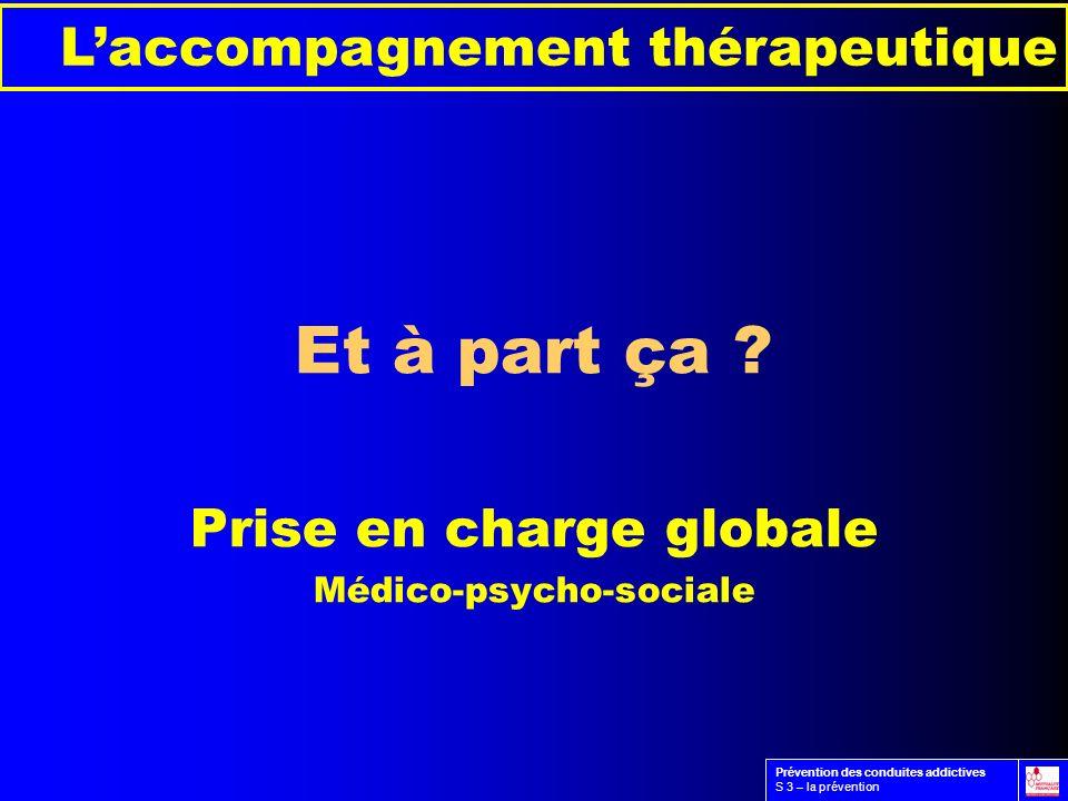 Et à part ça ? Prise en charge globale Médico-psycho-sociale Laccompagnement thérapeutique Prévention des conduites addictives S 3 – la prévention