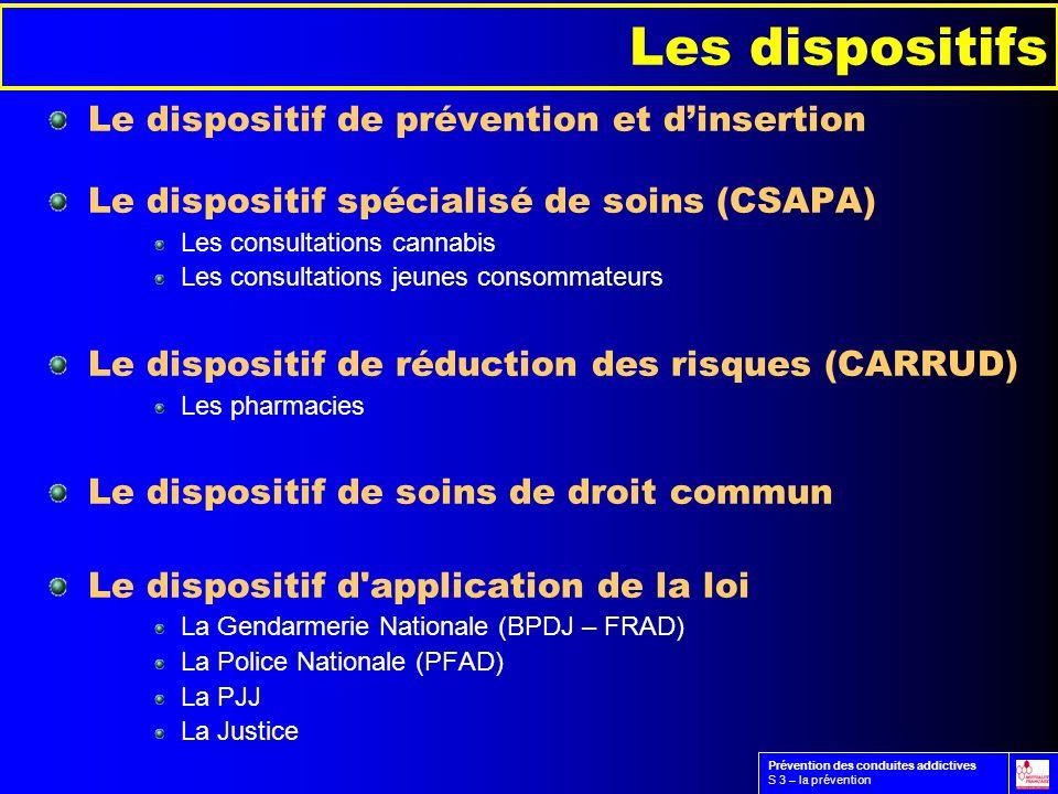 Le dispositif de prévention et dinsertion Le dispositif spécialisé de soins (CSAPA) Les consultations cannabis Les consultations jeunes consommateurs