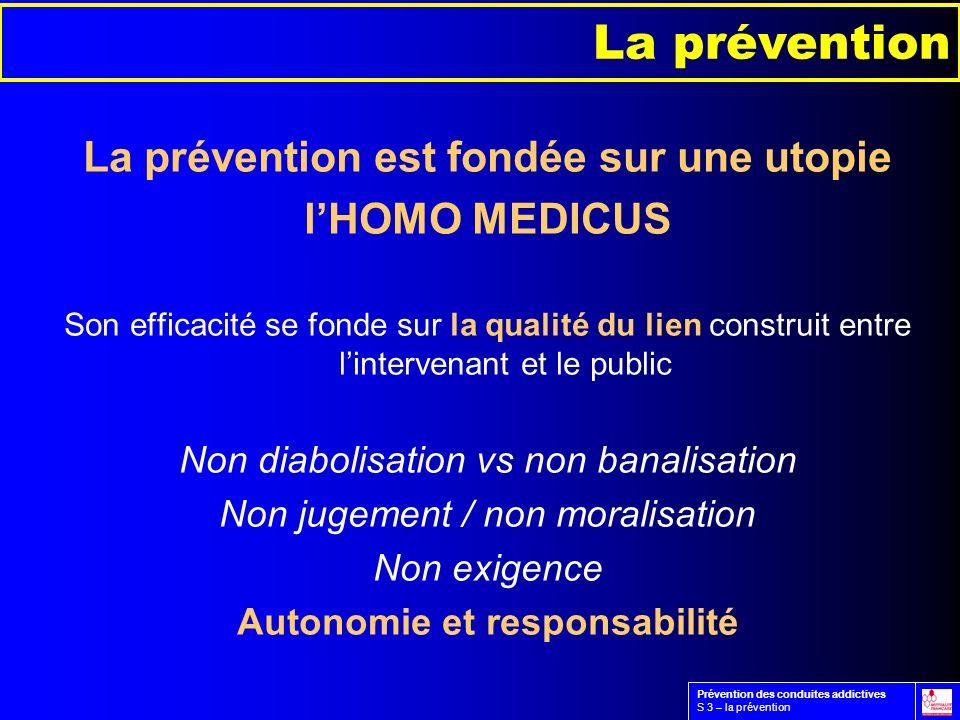 La prévention est fondée sur une utopie lHOMO MEDICUS Son efficacité se fonde sur la qualité du lien construit entre lintervenant et le public Non dia