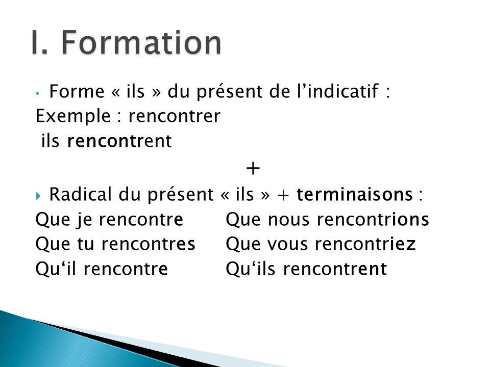Forme « ils » du présent de lindicatif : Exemple : rencontrer ils rencontrent + Radical du présent « ils » + terminaisons : Que je rencontreQue nous r