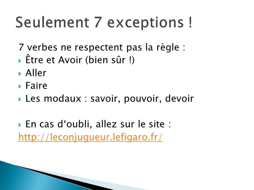 7 verbes ne respectent pas la règle : Être et Avoir (bien sûr !) Aller Faire Les modaux : savoir, pouvoir, devoir En cas doubli, allez sur le site : h