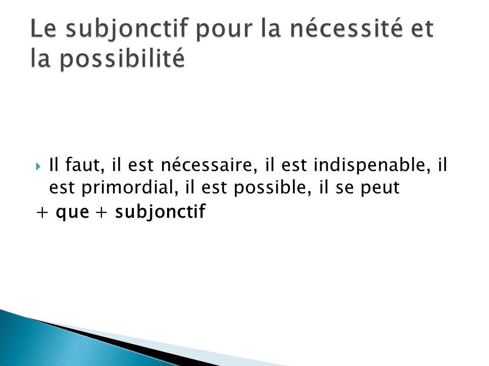 Il faut, il est nécessaire, il est indispenable, il est primordial, il est possible, il se peut + que + subjonctif