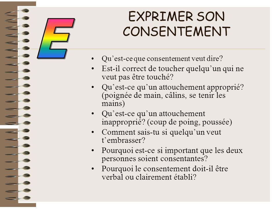 EXPRIMER SON CONSENTEMENT Quest-ce que consentement veut dire ? Est-il correct de toucher quelquun qui ne veut pas être touché? Quest-ce quun attouche