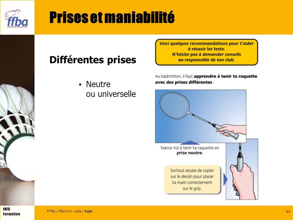 11 INFB Formation FFBA > Réunion - date > Sujet Prises et maniabilité Différentes prises Neutre ou universelle