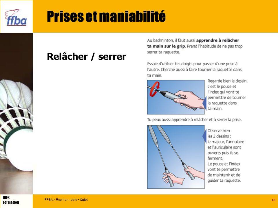 13 INFB Formation FFBA > Réunion - date > Sujet Prises et maniabilité Relâcher / serrer