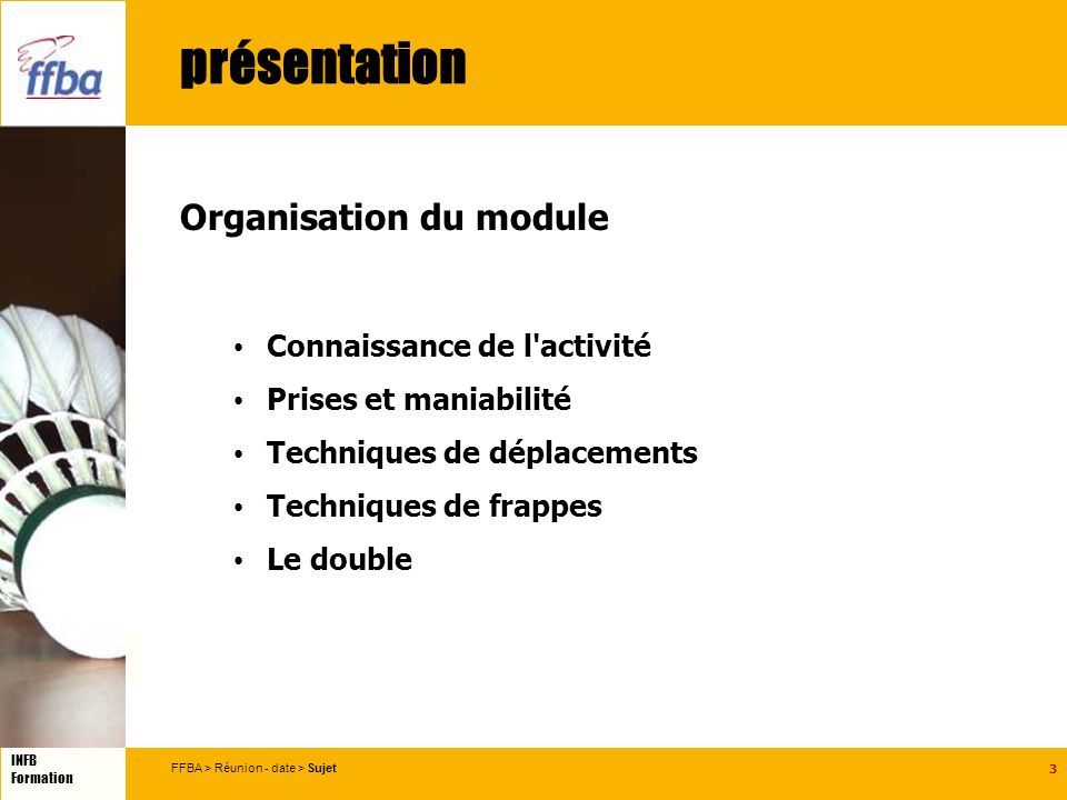 3 INFB Formation FFBA > Réunion - date > Sujet présentation Organisation du module Connaissance de l activité Prises et maniabilité Techniques de déplacements Techniques de frappes Le double