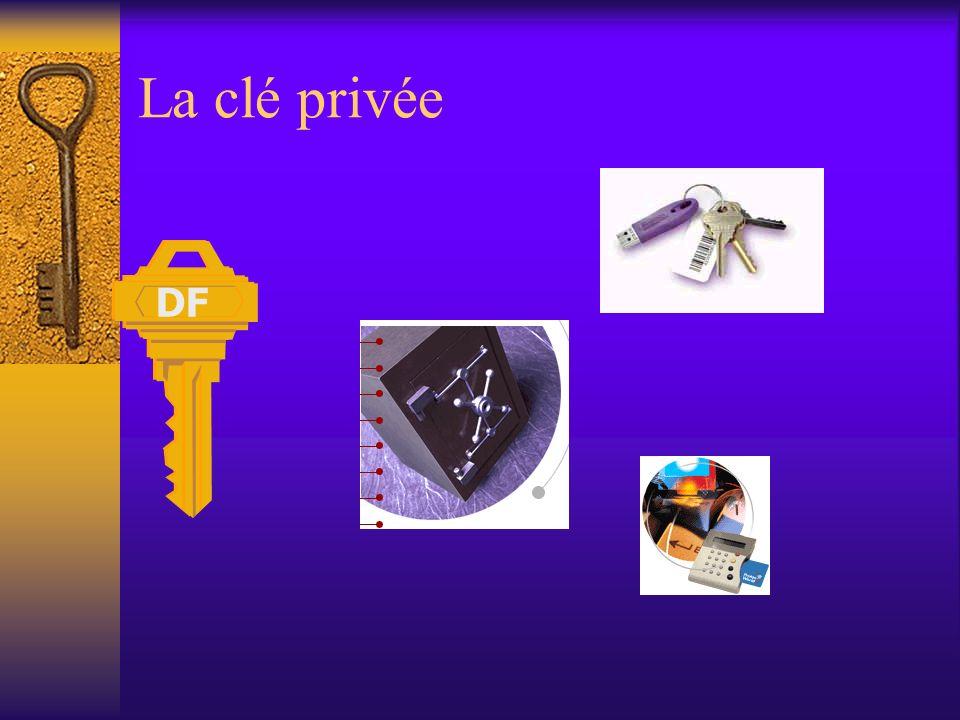 La signature électronique - Fonctionnement Le titulaire dune signature électronique génère deux clés –une clé privée qui est gardée secrète –une clé p