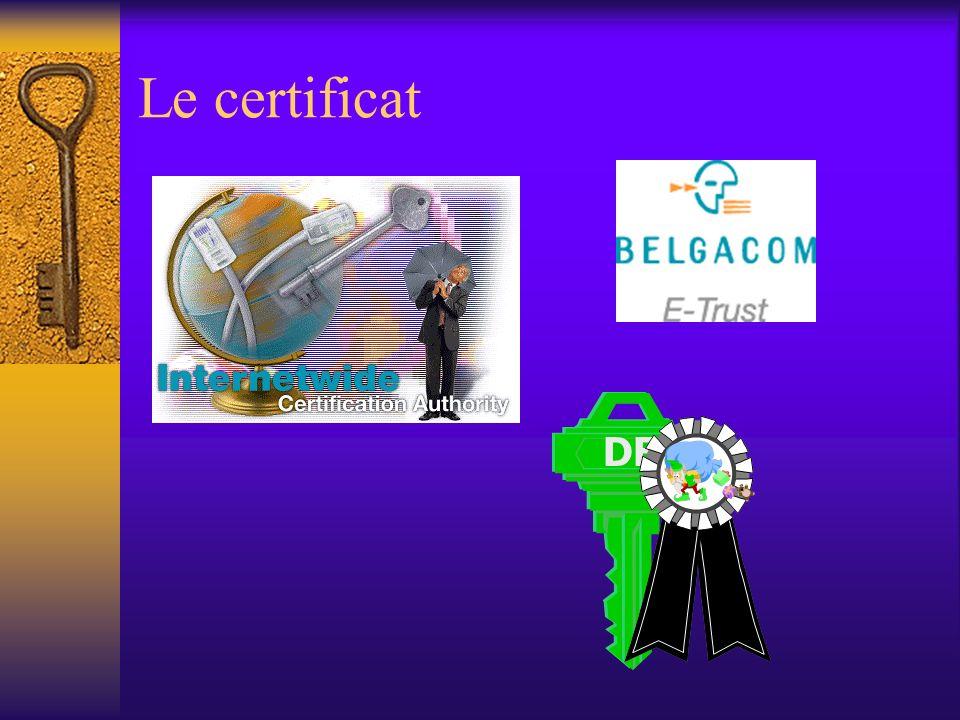 Le certificat Émis par un tiers de confiance certifie quune clé publique émane dune personne déterminée, peu ou prou qualifiée (son identité, certains attributs) toute communication dont la signature est vérifiée positivement à laide dune clé publique certifiée émane du titulaire du certificat toute communication cryptée à laide dune clé publique certifiée ne pourra être décryptée que par le titulaire du certificat