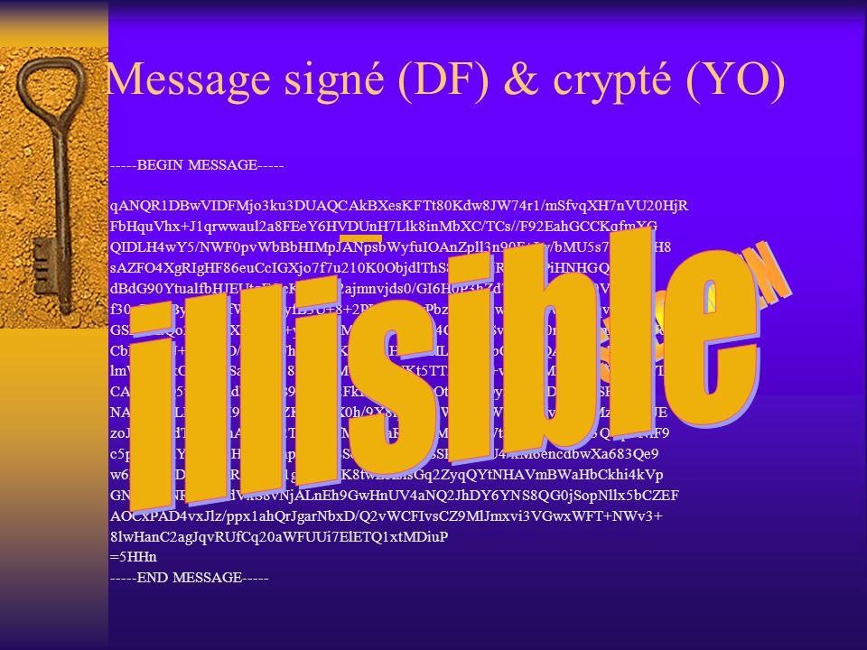 Message signé (DF) -----BEGIN SIGNED MESSAGE----- Hash: SHA1 Reçu Le soussigné reconnaît avoir reçu de Monsieur Paul Van Binst la somme de 1 franc à t