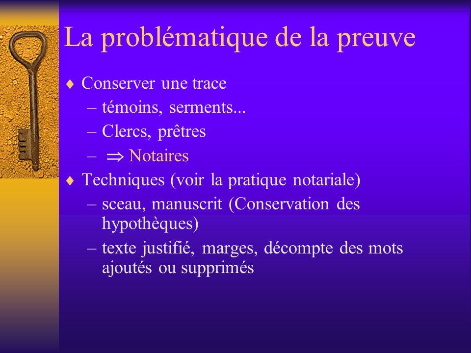 La problématique de la preuve Conserver une trace –témoins, serments...