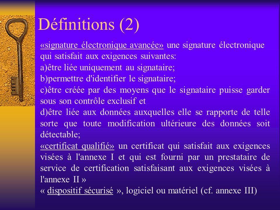 Définitions (1) Signature électronique : « une donnée sous forme électronique jointe ou liée logiquement à dautres données électroniques et servant de