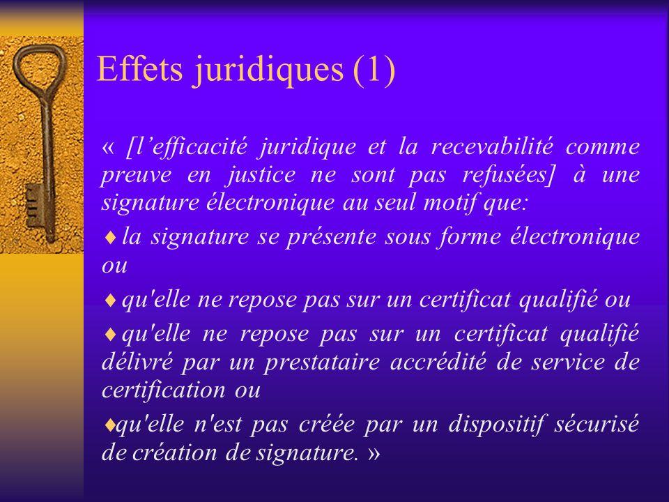 Définitions (2) «signature électronique avancée» une signature électronique qui satisfait aux exigences suivantes: a)être liée uniquement au signataire; b)permettre d identifier le signataire; c)être créée par des moyens que le signataire puisse garder sous son contrôle exclusif et d)être liée aux données auxquelles elle se rapporte de telle sorte que toute modification ultérieure des données soit détectable; «certificat qualifié» un certificat qui satisfait aux exigences visées à l annexe I et qui est fourni par un prestataire de service de certification satisfaisant aux exigences visées à l annexe II » « dispositif sécurisé », logiciel ou matériel (cf.