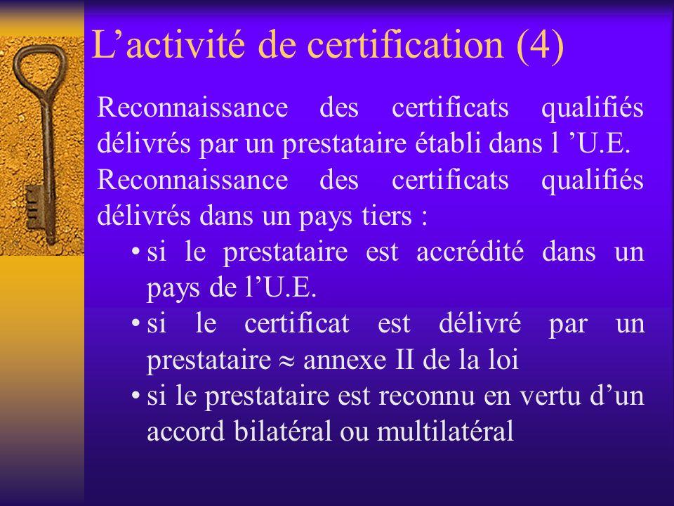 Régime de responsabilité du prestataire de services de certification (article 14) –qualité du certificat qualifié –contrôle du titulaire sur la clé privée correspondant à la clé publique –correspondance des clés privée et publique –révocation –sauf en cas d usage excédant les limites d utilisation ou la valeur maximale des transactions autorisées Lactivité de certification (3)