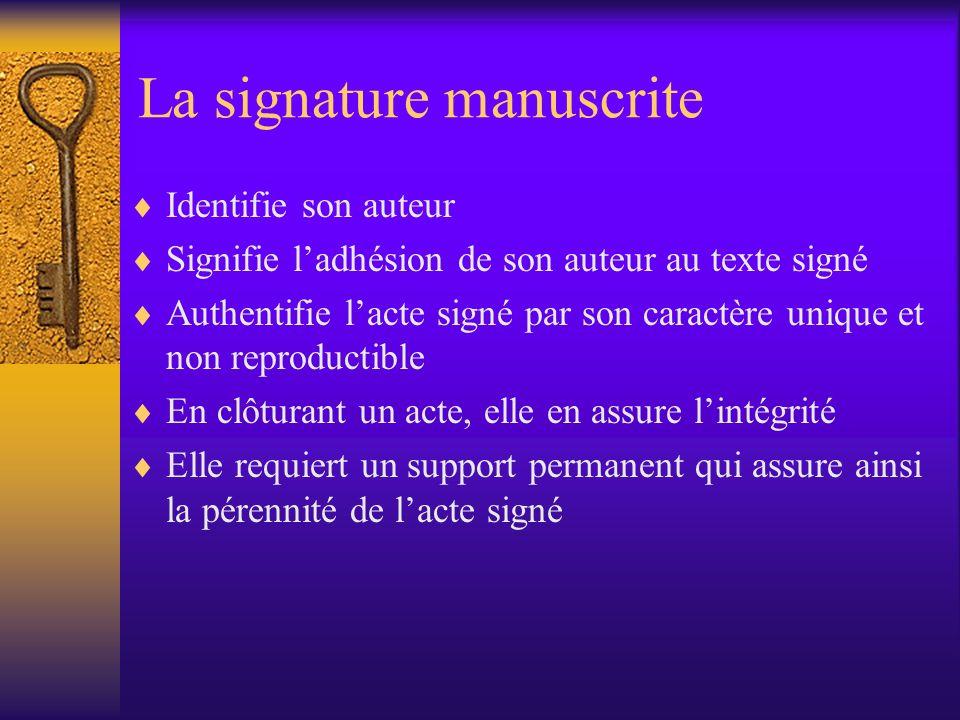 La signature manuscrite Identifie son auteur Signifie ladhésion de son auteur au texte signé Authentifie lacte signé par son caractère unique et non reproductible En clôturant un acte, elle en assure lintégrité Elle requiert un support permanent qui assure ainsi la pérennité de lacte signé