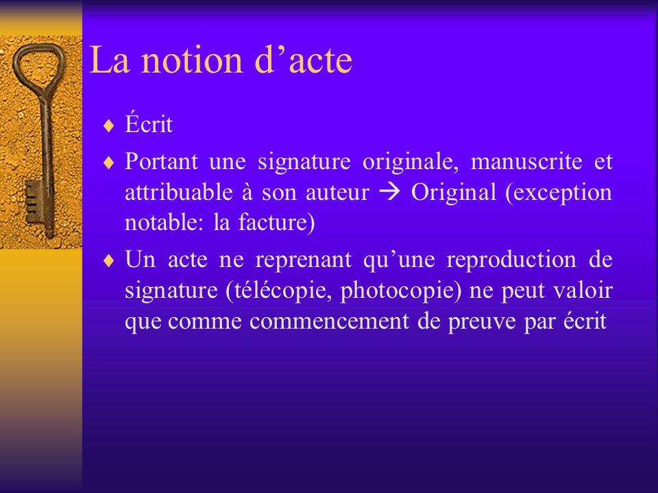 Les règles de preuve en droit belge Primauté de l écrit Càd.