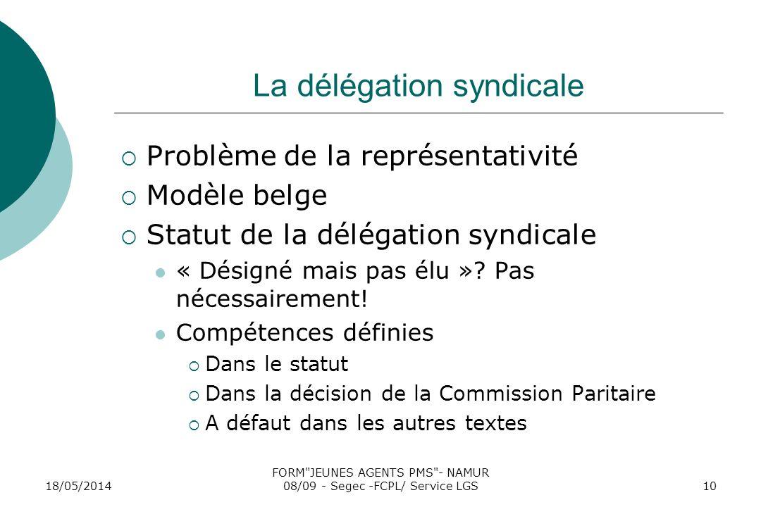 18/05/2014 FORM JEUNES AGENTS PMS - NAMUR 08/09 - Segec -FCPL/ Service LGS10 La délégation syndicale Problème de la représentativité Modèle belge Statut de la délégation syndicale « Désigné mais pas élu ».